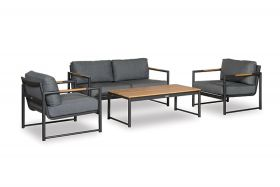Gerona loungeset antraciet met coffee table inclusief alle zit- en rugkussens