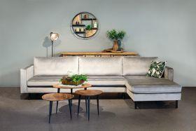 Hoekbank 'Maison' 3-zits met longchair Velvet Grijs