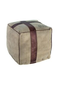 Ellis Vintage Pouffe with leather